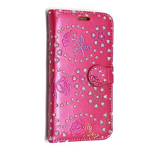 Kamal Star Flipcase/Schutzhülle mit Standfunktion, PU-Leder, für iPhone SE/5/5S, inkl. Eingabestift und Displayschutzfolie ROSE ON PINK DIAMOND