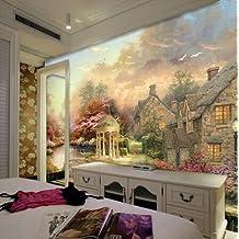 350cmX245cm tapiz europeo grande estilo pictórico nórdico antiguo paisaje poblado paisaje de árboles de alta calidad mural mural papel,350cmX245cm