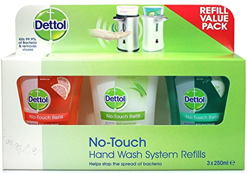 Dettol No-Touch Hand Wash System Refill Value Pack (3 x 250ml Refills) Scented by Dettol