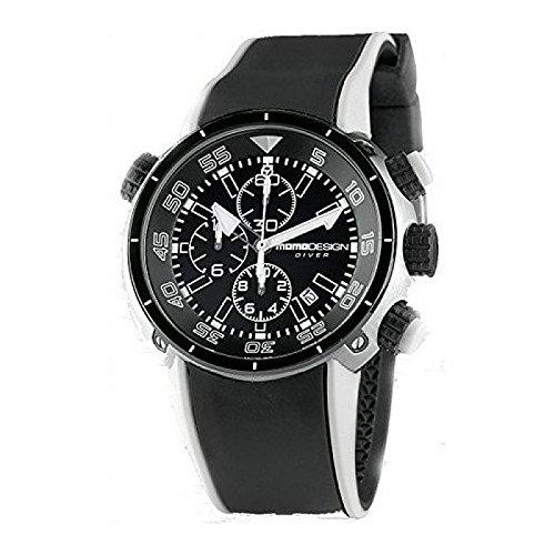 Uhr MOMO DESIGN Unisex md2005sb-11Quarz (Batterie) Stahl Quandrante schwarz Armband Gummiarmband '