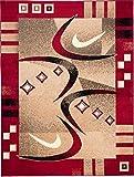 Tapiso Atlas Teppich Kurzflor Designer Modern Abstrakt Viereck Streifen Bumerang Muster Rot Beige Wohnzimmer Gästezimmer ÖKOTEX 120 x 170 cm