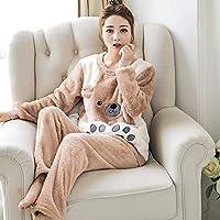 YTNGA Pijamas De Mujer Pijamas de Mujer de Manga Larga de Invierno conhuella Gruesa Pijama cálido Conjunto de Traje de Ropa de Dormir para el hogar Femenino, HS Brown, XL