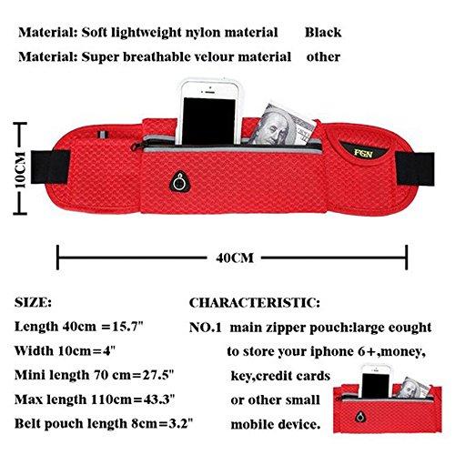 Wander-Hüfttaschen Wasserdicht Bauchtasche Jogging Tasche Gürteltasche mit Reissverschluss By Sijueam Rot