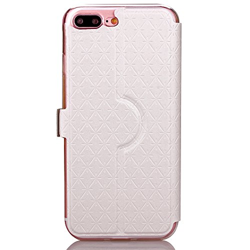 Case Cover per iPhone 7 Plus, Gray Plaid Design [View Window] Premium Flip PU Pelle Custodia Case Cover Per iPhone 7 Plus - Oro bianca
