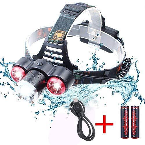 JUDYelc 6000 Lumen LED Scheinwerfer Effekt Reichweite 400-500 Meter 4 Modi Helle Licht für Camping Laufen Wandern und Lesen Outdoor Sport