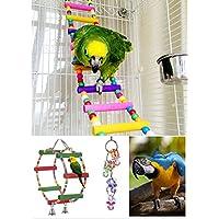 3 Piezas Juguetes para Pajaros para Escalar y Masticar Escalera Columpio Percas para Loros Pet Bird Parrot Bite Toy Swing Decoración Accesorios de Jaula para Mascotas Pajaros Aves como Pericos Periquitos Agapornis Cacatúas