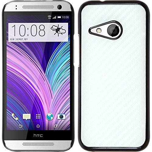 PhoneNatic Case für HTC One Mini 2 Hülle weiß Carbonoptik Hard-case + 2 Schutzfolien