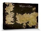 1art1 Set: Game of Thrones, Antike Landkarte Von Westeros Und Essos Poster Leinwandbild Auf Keilrahmen (120x80 cm) + 1x Aktions-Home-Deko Artikel