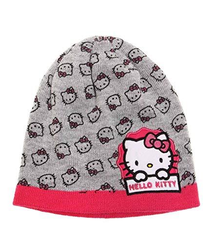 Hello Kitty süße Mädchen Winter Mütze in 3 Farben und 2 Größen, Farbe:Melange grau, Größe:54cm (Hello Kitty-frauen-hut)
