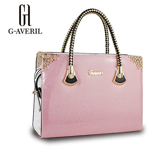 (G-AVERIL) Borse In Vera Pelle Designer Top-Handle Spalla Del Tote Della Borsa Per Le Donne rosa