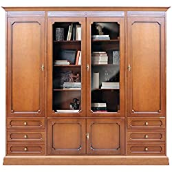 Mueble para salón, mueble armario en madera con puertas en vidrio, librería acabado cerezo con cajones