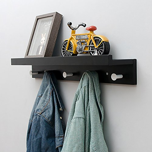 Wandgarderobe Black Solid Wooden Coat Rack, Wandmontage Mehrzweck Regal, Kreativer Wandaufhänger Haken, einfacher Mantel Rack Garderobe ( größe : 61cm ) (Coat Rack Black)