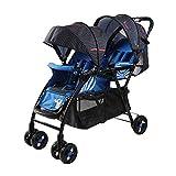 YXINY Kombikinderwagen Zwillinge Babywagen Kann Sitzen Liegend Zusammenklappbar Leicht Zwillingswagen Doppeltrolley Baby Buggy (Farbe : Blau)