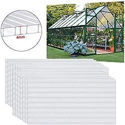 UISEBRT 14 plaques alvéolaires en polycarbonate 4 mm Plaques à double paroi 10,25 m² 60,5 x 121 cm Plaques résistantes aux UV et adaptées pour jardin, serre