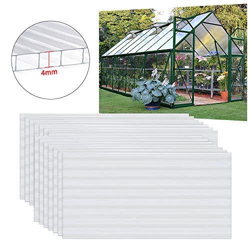 UISEBRT - 14 placas huecas transparentes de policarbonato UV de 60,5 x...
