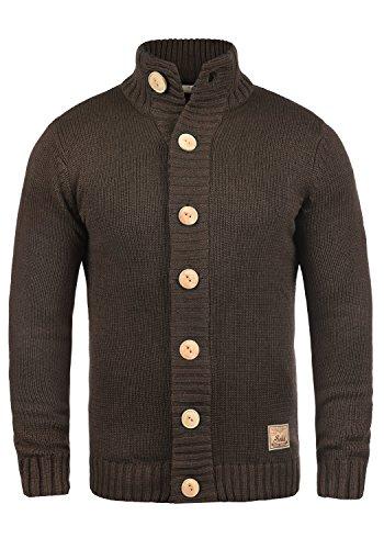 !Solid Pete Herren Strickjacke Cardigan Grobstrick mit Stehkragen aus hochwertiger Baumwollmischung, Größe:L, Farbe:Coffee Bean Melange (8973)