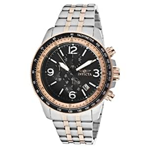Invicta Men's Quartz Watch with Black Dial Chronograph Display and Silver Stainless Steel Bracelet 13965