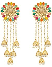 The Luxor Gold Plated Multi-Coloured Pearls Tassel Bahubali Jhumki Earrings For Women And Girls (ER-1779)