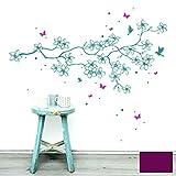 Wandtattoo Wandaufkleber Wandsticker Wandbild Aufkleber Sticker Blumen Blumenranke Frangipani Kolibris 2-farbig M1807 ausgewählte Farbe: *lila* ausgewählte Größe: *M - 80cm breit x 42cm hoch*