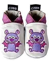 C2BB - Chaussons de bébé cuir souple fille brodé   Chauve-souris