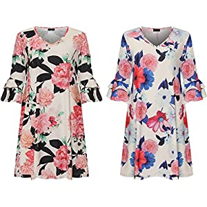 8e28feb942c42 Funky Fashion New Ladies Short Bell Sleeves Floral Print Flared V Neck Swing  Dress Plus Size 14-28