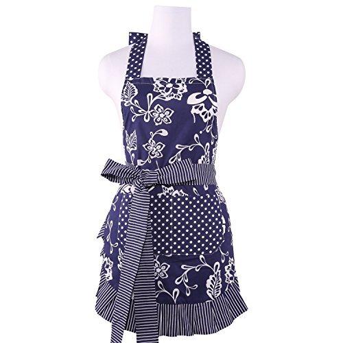 NEOVIVA Kochschürze für Frauen mit Taschen, doppellagige Latzschürze zum Kochen, Backen, Grill und Gartenarbeit, Stil…