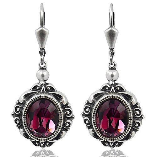 Vintage Ohrringe Kristalle von Swarovski® Silber Bordeaux Amethyst NOBEL SCHMUCK