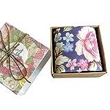 Chinashow Womens/Girls Vintage Floral Print Baumwolle Taschentücher Floral Taschentuch mit Geschenkbox A02