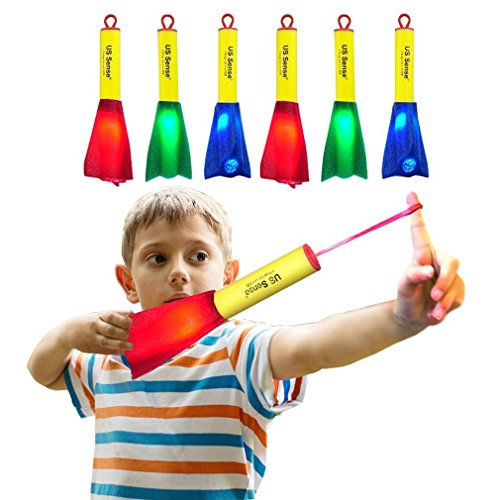 US Sense LED Schaum Finger Rocket Slingshot Spielzeug-Spaß Schießen Outdoor Fliegende Spiele für Kinder Kinder Jungen Home Office Familie Camping Party Favors Geschenk (6 Pack) -