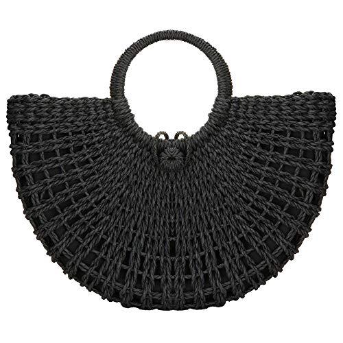 Damen Handtasche aus Stroh, für Sommer, Strand, klassisch, mit Tragegriff Gr. One size, Schwarz -