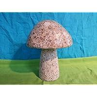 Naturstein Pilz aus Gelben Granit Gr.S Handarbeit ! Garten Haus Deko Teich Figur Stein