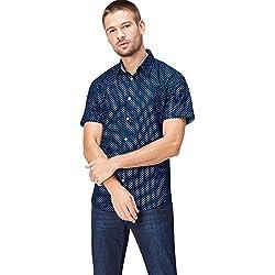 FIND Camisa de Lunares Entallada de Manga Corta Hombre, Azul (Navy Polka), XX-Large