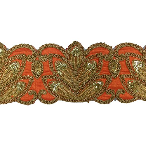 ORANGE - Lace &velvet febric lace for dress/sarees/blouses,suits,caps/bags/decorations/ borders, crafts, any many...