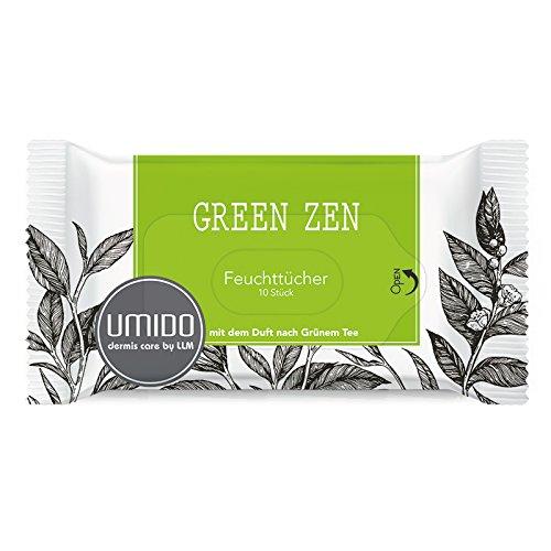 UMIDO Feuchttücher Grüner Tee - 10 Reinigungstücher - Kosmetiktücher - Abschminktücher - Hygienetücher - 1 x 10 Pflegetücher (3.) (9.) (4.)
