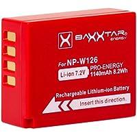 Baxxtar PRO batería para Fujifilm NP-W126 NP-W126s (de 1140mAh) compatible a Fujifilm FinePix HS30EXR HS33EX X100F X-A1 X-A2 X-A3 X-A5 X-A10 X-E1 X-E2 X-E3 X-ES2 X-H1 X-M1 X-Pro1 X-Pro2 X-T1 X-T2 X-T3 X-T10 X-T20
