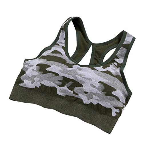 taottao Frauen Gym Camouflage Stretch Workout Tank Top nahtlos Fitness Yoga Sport BH gepolstert