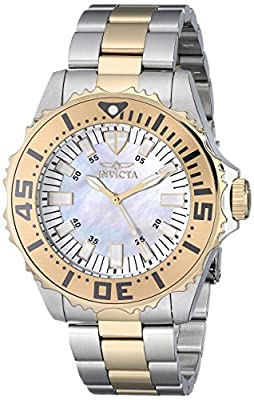 Invicta Pro Diver Women's Quartz Watch with Mother Of Pearl Dial Analogue display on Multicolour Stainless Steel Bracelet 17694