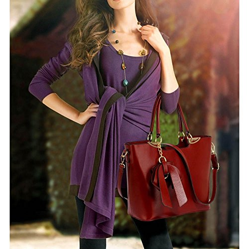 Leahward® Womens Faux Leather Grip Tote Bag Borse Bow Charm Borsa Viola