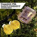 Tobbiheim LED Lichterkette Batteriebetrieben Kristall Kugeln, 30er LED 6 Meter Außenlichterkette Wasserdicht Beleuchtung mit Fernbedienung für Garten, Party, Weihnachten, Outdoor, Fest Deko - Warmweiß von Tobbiheim