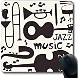 Desk Pad,Doodle Music Jazz Musical Instruments Abstract Bird Vintage Trumpet Blues Guitar Silhouette Trombone Non-Slip Rubber Mouse Pad Office Computer Laptop Game Mat,22X18 Cm