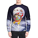 Selou Herren Lässiger Pullover Weihnachtskostüme Schicker Sweater Herbst Winter 90D gedruckte lange Ärmel Rote Lucky Top Lockeres Sweatshirt Streetwear Winter Hemd Jacke Parker Hemd grundiert