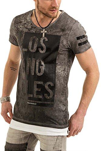 trueprodigy Herren T-Shirt Rundhals Ausschnitt Grau Kurzarm Slim Fit