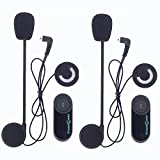 Freedconn T-COM VB - 2 x Bluetooth Motorrad Intercom Headset Gegensprechanlage Helm Headset (800M, 10 Stunden, DSP Rauschunterdrückung, bis zu 3 Reiter, für Handy Navi Auruf Musikhören Skihelm)