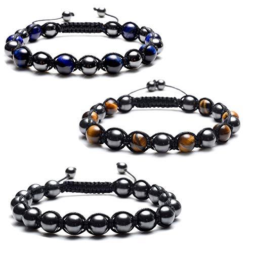 CrystalTears 6-8mm Tigerauge Steine Magnetit Kugeln Perlen Armband Energiearmband Magnetarmband Perlenarmband Paar armbänder magnetschmuck für Damen Herren