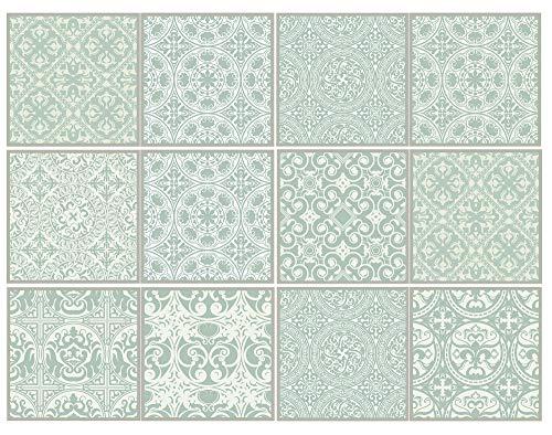 Cuadros Lifestyle Dekorative Stickerfliesen mit tollen Motiven und Ornamenten für Wände und Fliesen | 12 teiliges Set | seidenmatt, Größe:15x15 cm - Dekorative Wand-fliesen