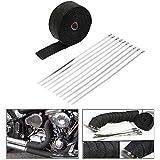 KKmoon 15m*5cm Band Thermique Echappement Thermique Wrap, Turbo Tube Chaleur Isolé Wrap, 10*30cm Attaches de Câble pour Voiture et Moto