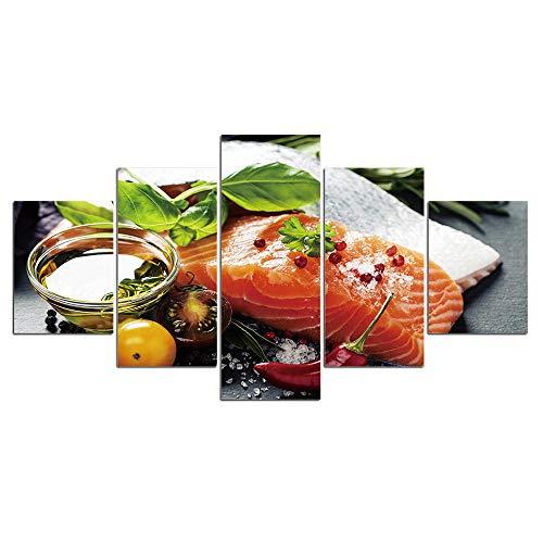 ZDFDC Große Wandkunst Leinwand Malerei 5 Panel Fischfutter Drucke Küche Restaurant Wohnzimmer Wanddekor Bilder-40x60 40x80 40x100 cm kein Rahmen
