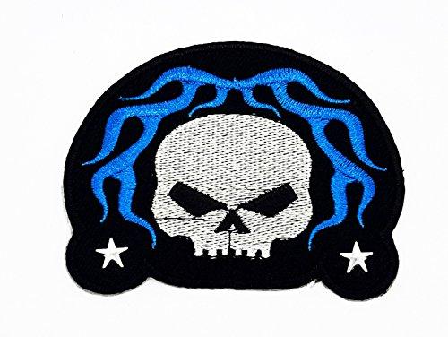 rabana Fantasy Totenkopf Skull mit Star Cartoon Kids Blau Patch für Heimwerker-Applikation Eisen auf Patch T Shirt Patch Sew Iron on gesticktes Badge Schild Kostüm