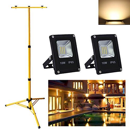 Zwei-lampe Flutlicht (VINGO® 2x 10W LED Fluter Warmweiß Außen Strahler Flutlicht Licht IP65 Leuchtmittel Doppelt Ständer Höhenverstellbar Outdoor)