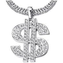7dab8726eb89 COOLSTEELANDBEYOND Hip Hop Punk Grande US Dólar Signo De Dinero Collar  Colgante con Rhinestones de Hombre
